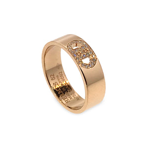 Hermes 18K Rose Gold Diamond H D'Ancre Ring Size: 6