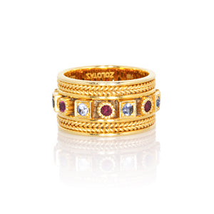 Estate Zolotas 18K Yellow Gold Multi-Colored Gemstones Ring