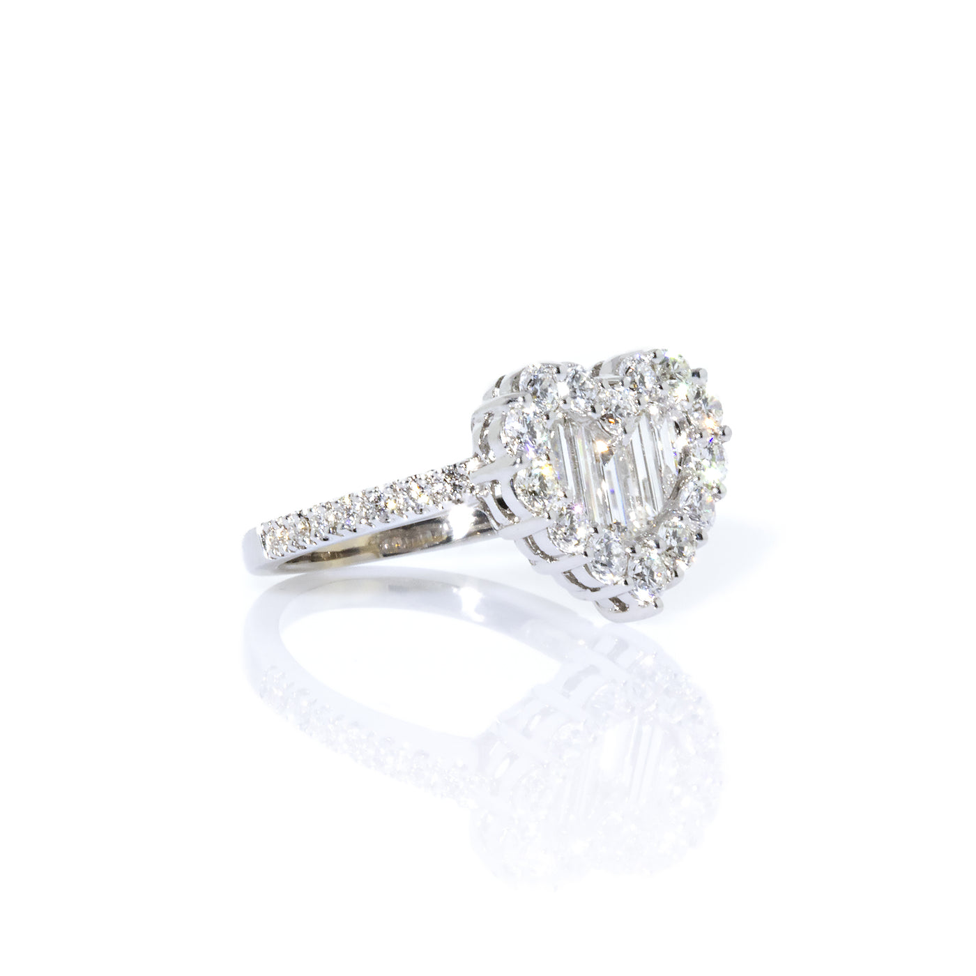 c673af1d9adae Gregg Ruth 18K White Gold Baguette and Round Diamond Heart-Shape Ring