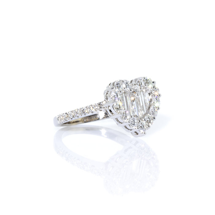 Gregg Ruth 18K White Gold Baguette and Round Diamond Heart-Shape Ring