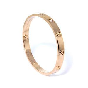 Cartier 18K Rose Gold 4 Diamond Love Bracelet Size 18cm
