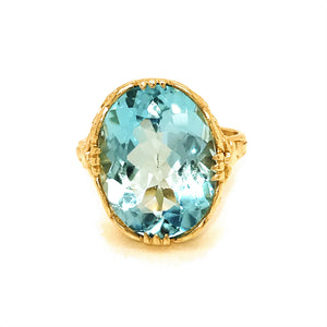 Art Nouveau 14k Yellow Gold Topaz Ring