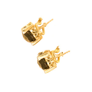 14k Yellow Gold Diamond and Smoky Topaz Earrings