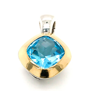Estate 18K Yellow Gold and Silver with Blue Topaz Pendant