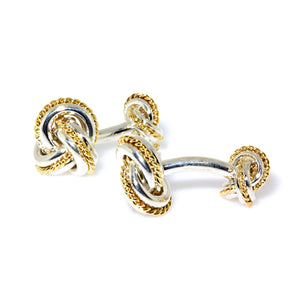 Tiffany & Co. Double Knot Silver & 18k Yellow Gold Cufflinks