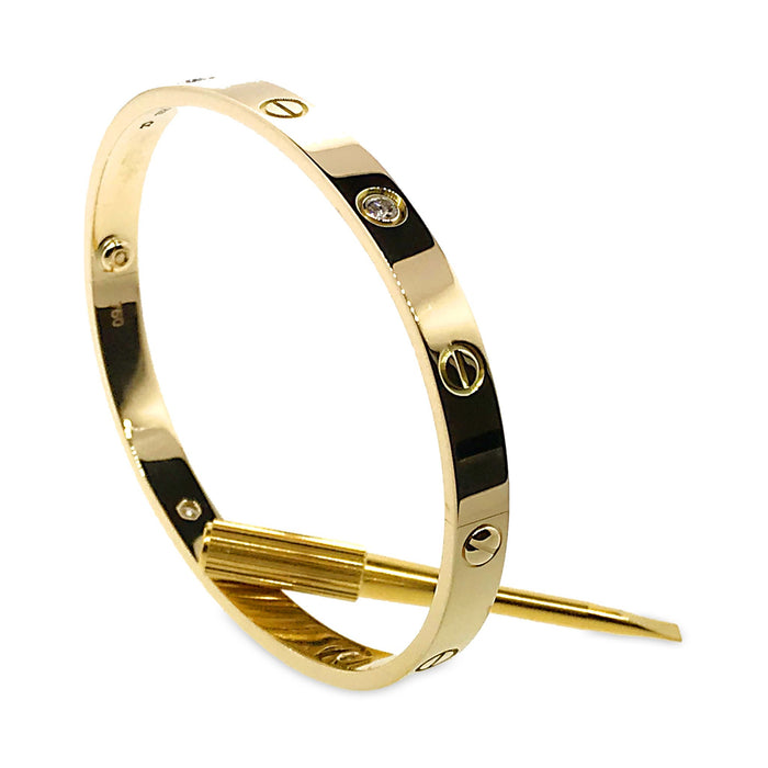 18K Yellow Gold 4 Diamond Love Bracelet