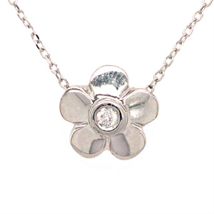 Petite 14k White Gold Flower with Diamond Pendant Necklace