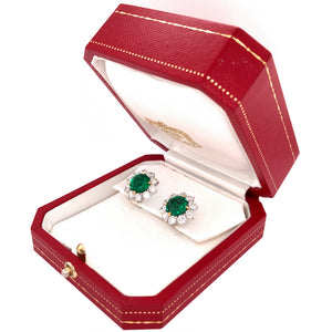 Cartier Platinum Diamond and Emerald Cluster Earrings