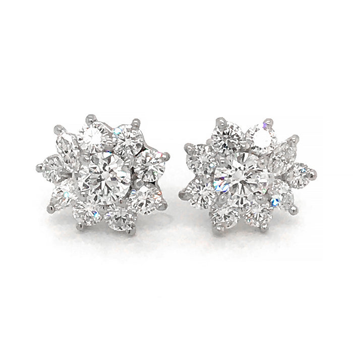 Tiffany & Co. Platinum Victoria Diamond Cluster Earrings
