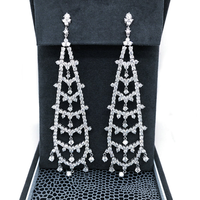 Estate 18K White Gold Diamond Hanging Earrings