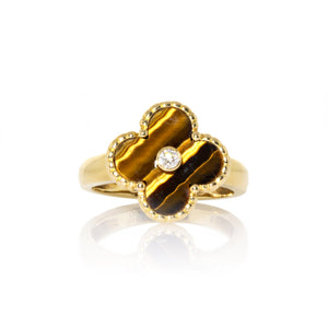 Van Cleef & Arpels 18K Yellow Gold Tiger Eye & Diamond Vintage Alhambra Ring