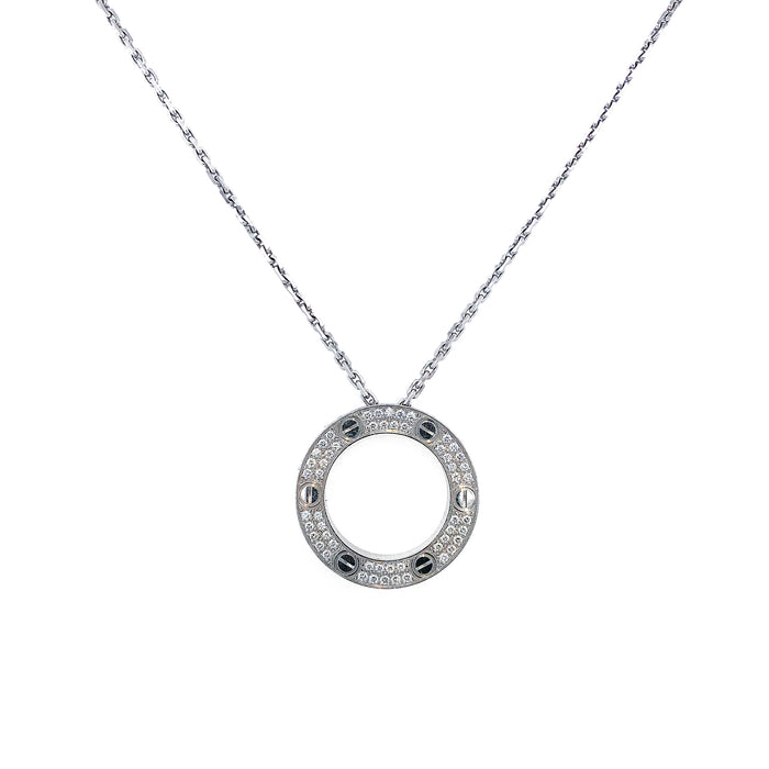 Cartier 18k White Gold Love Diamond Necklace