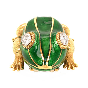 18k Yellow Gold Green Enamel Frog Diamond Brooch