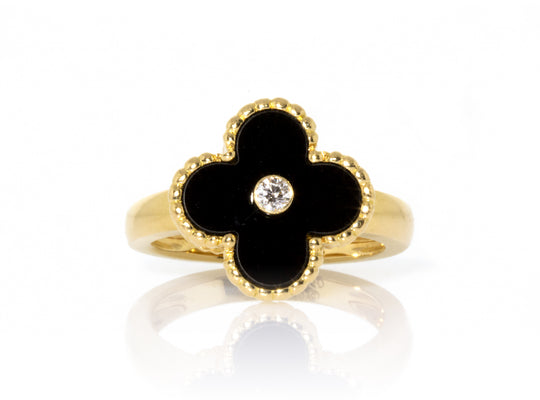 Van Cleef & Arpels 18K Yellow Gold Onyx & Diamond Vintage Alhambra Ring