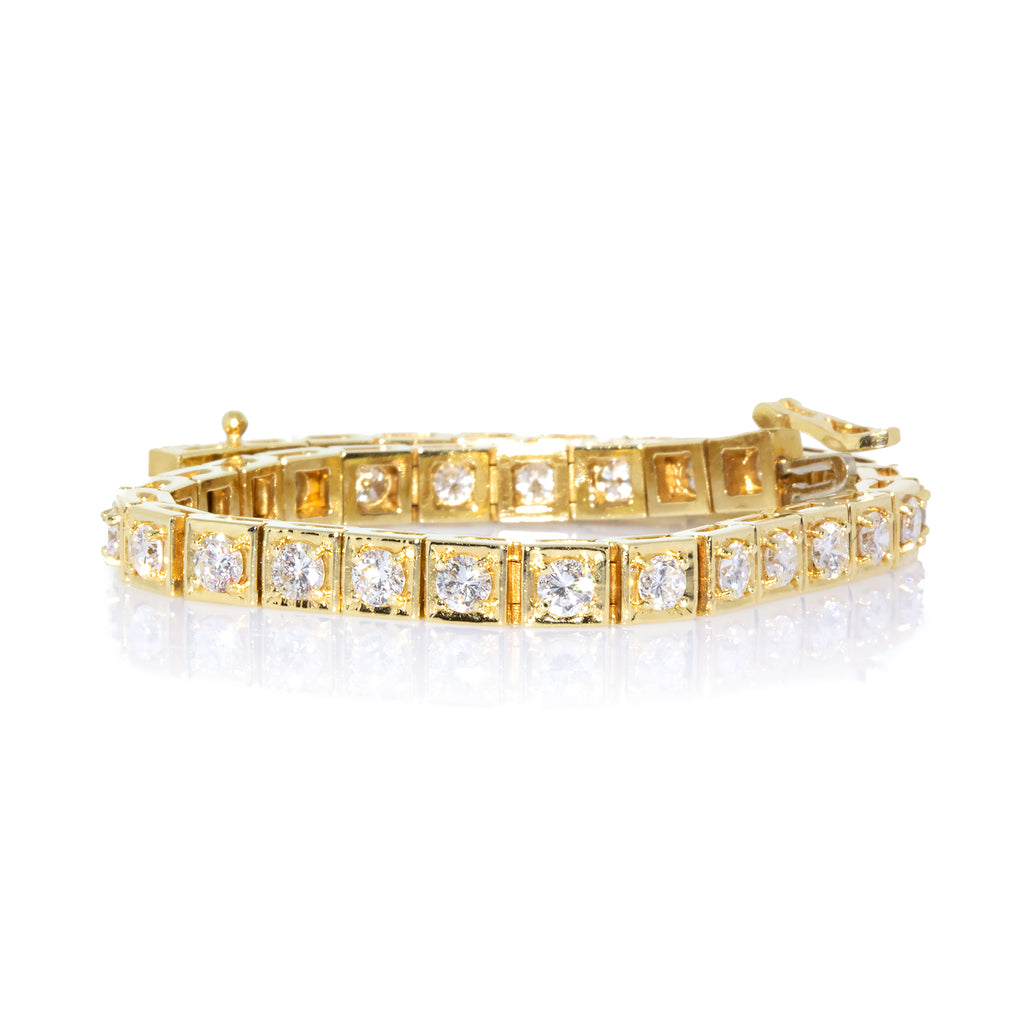 Beautiful 18k Yellow Gold Block 7 Carats Diamond Tennis Bracelet