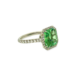 Tiffany & Co. Green Tourmaline and Diamond Ring Size: 5