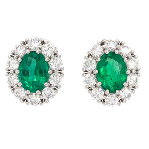 18k White Gold Round Emerald and Diamond Earrings