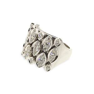 Cartier 18K White Gold Diamond Marquee Ring Size: 6.75