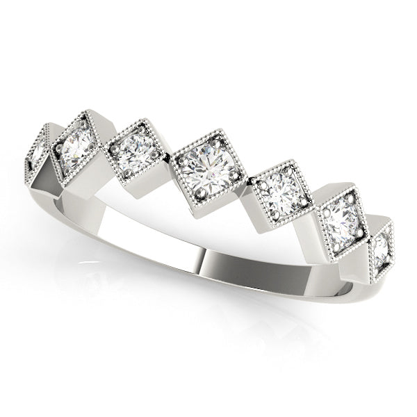 14k and 18k White Gold and Diamonds Stackable Ring