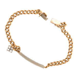 14k Yellow Gold Link Chain with Diamond Bar Bracelet