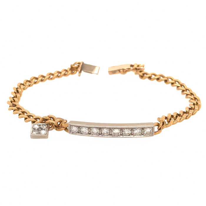 14k Yellow Gold Link Chain with Diamond Bar Bracelet with Diamond Charm