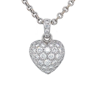 Cartier 18K White Gold Pave Diamond Heart Necklace