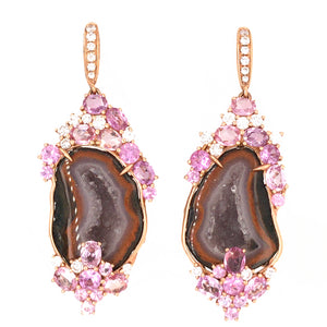 18k Rose Gold Druzy Gem, Pink Sapphire and Diamond Earrings