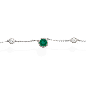 Tiffany & Co. Platinum Elsa Peretti Emerald and Diamond Color by the Yard Necklace Length: 16""