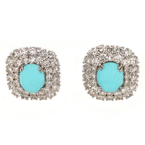 18k White Gold Turquoise and Diamond Clip-on Earrings