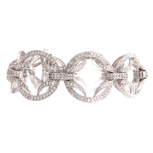 18k White Gold Circles Diamond Bracelet