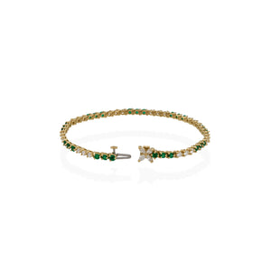 Tiffany & Co. 18K Yellow Gold Diamond and Emerald Tennis Bracelet Length: 7""
