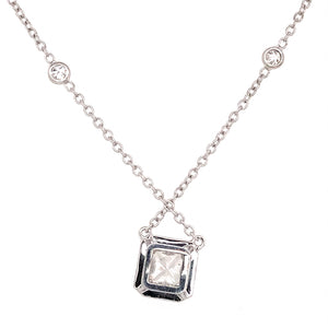 18k White Gold Diamond Pendant with Diamond by the Yard Chain Necklace