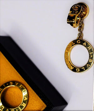 Bvlgari 18k Yellow Gold Mother of Pearl Circle Drop Earrings