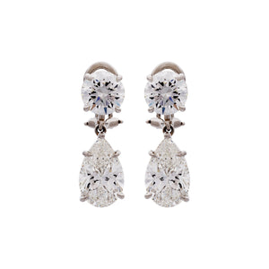 Estate GIA Certified Platinum Diamond Round and Pear Shaped Earrings