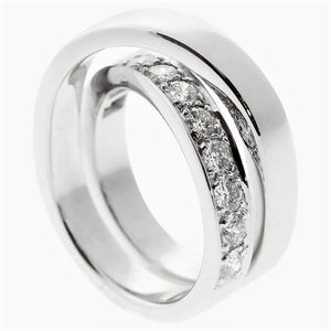 Cartier 18K White Gold Paris Nouvelle Vague Diamond Ring Size: 8.5