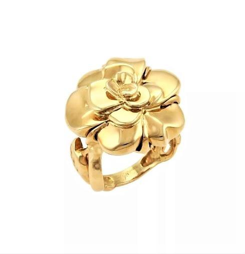 Chanel 18K Yellow Gold Camellia Ring Size: 5.25