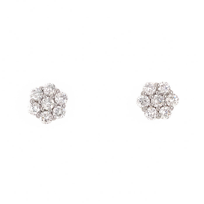 Diamond Cluster Stud Earrings 14k White Gold