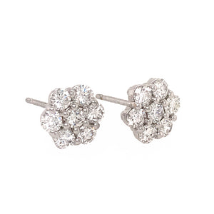 14k White Gold Diamond Cluster Earrings