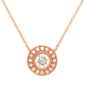 18K Rose Gold Round Pendant Diamond Necklace
