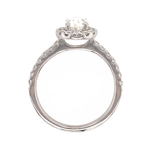 GIA Certified 18k White Gold Oval Diamond Ring