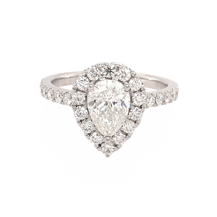 GIA Certified 18k White Gold Pear Shaped Diamond Ring