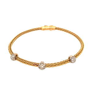 Beautiful 18k Yellow Gold Diamond Cable Bracelet