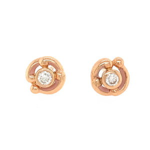 Fabergé Rococo 18 Karat Pink Gold Diamond Stud Earrings