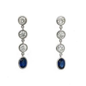 FAB DROPS 14k White Gold Round Diamond and Sapphire Drop Earrings