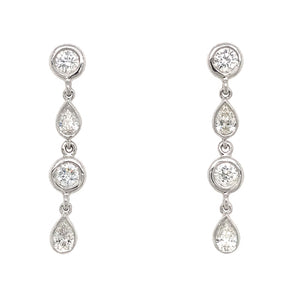 FAB DROPS 14k White Gold Round and Pear Shaped Drop Earrings