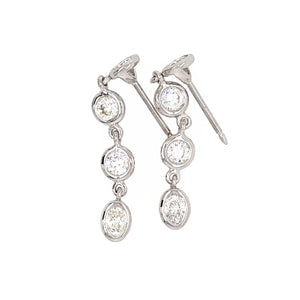FAB DROPS 14k White Gold Round and Oval Diamond Drop Earrings
