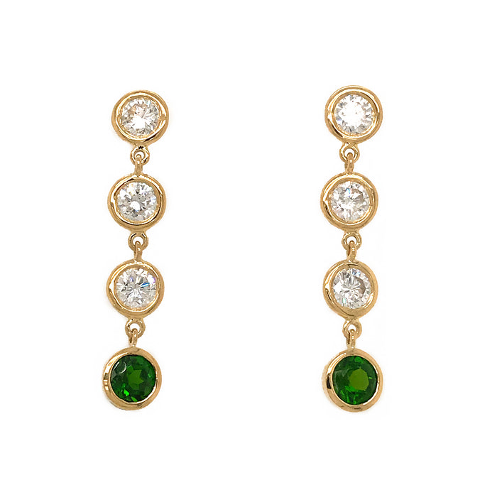 FAB DROPS 18K Yellow Gold Round Diamond and Chrome Diopside Drop Earrings