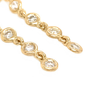 FAB DROPS 18K Yellow Gold Round Diamond Drop Earrings