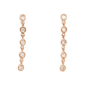 FAB DROPS 14k Pink Gold Round Diamond Drop Earrings