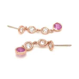 FAB DROPS 14k Pink Gold Diamond and Pink Sapphire Drop Earrings